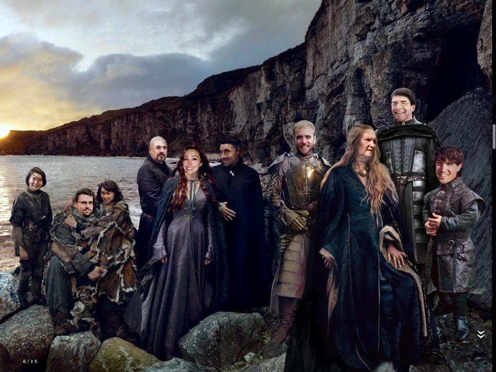 There were not much wolves (Starks) left so we had to expand! Left to right: Jie-Arya, Will-Hodor, Steven-Bran, Var(chr)is, Shirin-Sansa, Damon-Little-Finger, Ryan-Jaime, Rita-Cersei, Wolf-Stannis, Aurèle-Tyrion